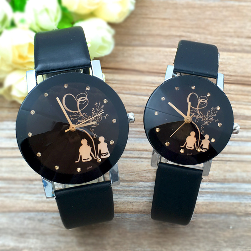 新爆款时尚简约黑色表盘镶钻背影情侣表 韩国男女士皮带手表