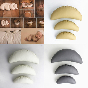 Creative Mom Three-piece Moon Pillow Photo Studio Baby Photography Assistant Child Photo Props Crescent Shape Pillow