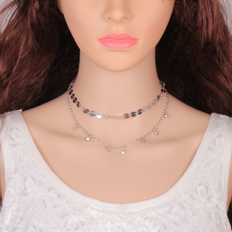 Occident and the United States alloy Diamond necklace (Silver)NHJQ9284-Silver