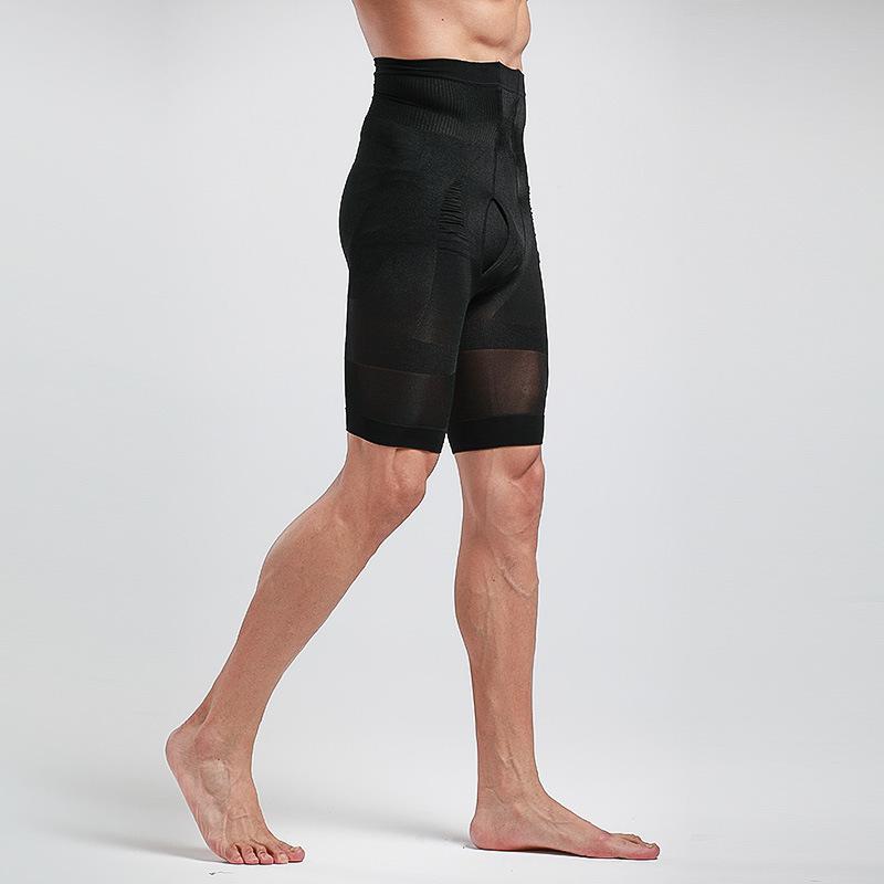 男士高腰收腹裤短款高弹透气束身运动功能五分塑身裤紧身收胃K16
