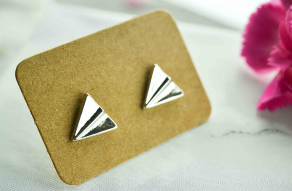 New cute mini airplane earrings alloy plated gold silver paper airplane earrings wholesale NHCU205062