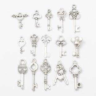 DIY ретро сплав аксессуары монтаж старинное серебро ключ ожерелье кулон подвески продаётся напрямую с завода
