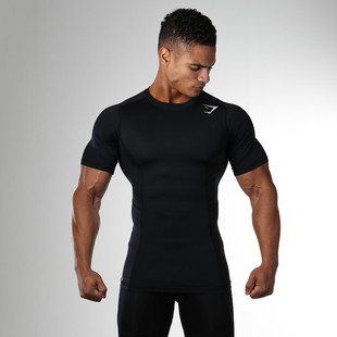 Muscle boy brothers summer fitness short-sleeved men's elastic round neck wicking and quick-drying casual running sports t-shirt