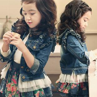 新款童装 韩版中大童外套 女童牛仔夹克 木耳边外套 童装上衣批发