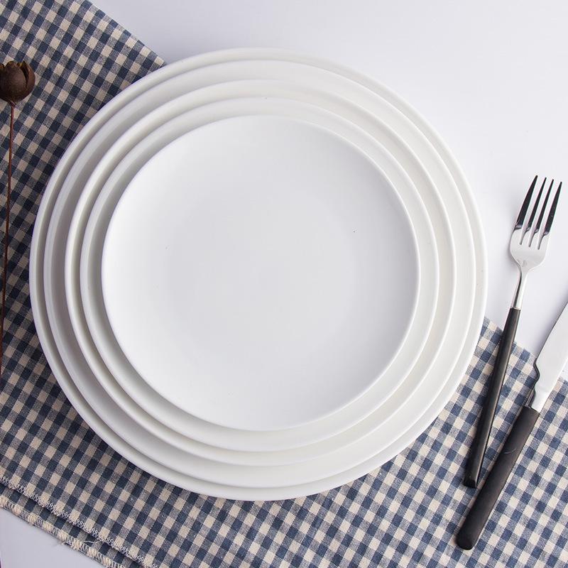 ?#39057;?#35199;餐平盘浅盘纯白陶瓷盘牛排盘 ?#40575;?#22278;盘日用餐具可定制LOGO
