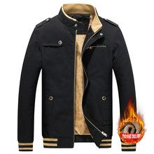 跨境专供冬季新款外套男青少年男士修身休闲纯棉立领加绒加厚夹克