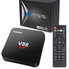 厂家外贸出口RK3229智能高清网络播放器TV BOX V88网络电视机顶盒
