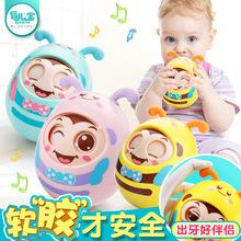 婴儿手拿玩具可咬牙胶6-12个月益智新生儿摇铃女孩卡通不倒翁男孩