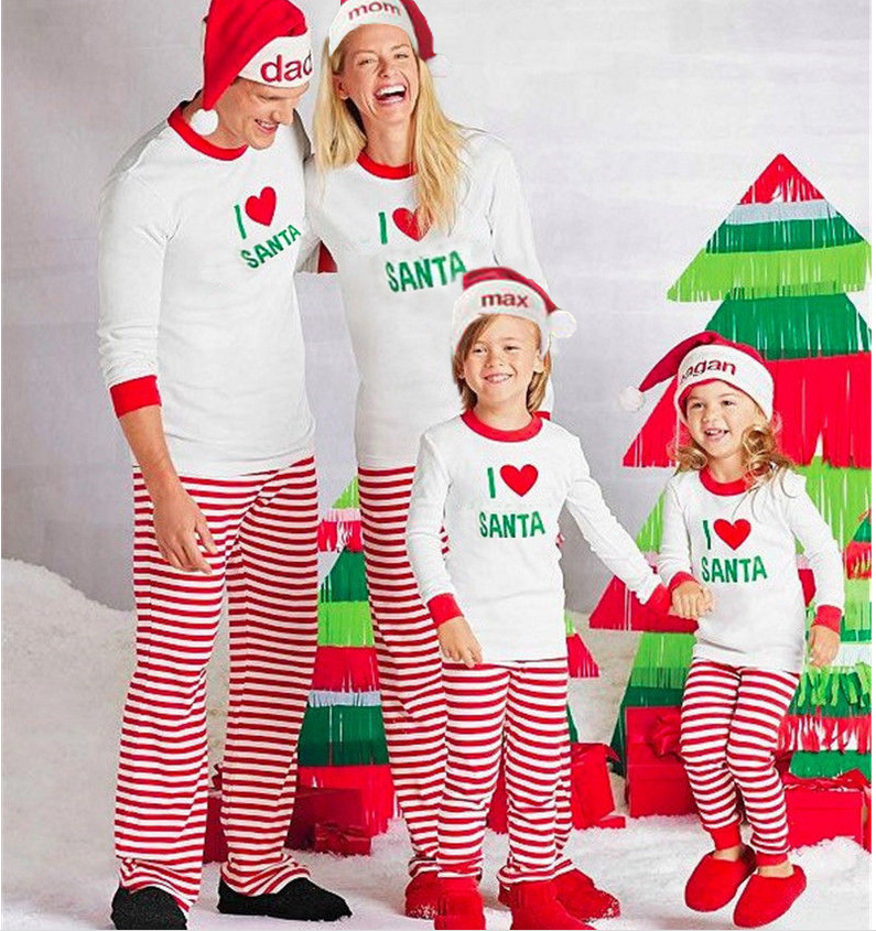 Xmas pjs striped matching christmas outfits I LOVE santa pajamas ... 59bdadc91