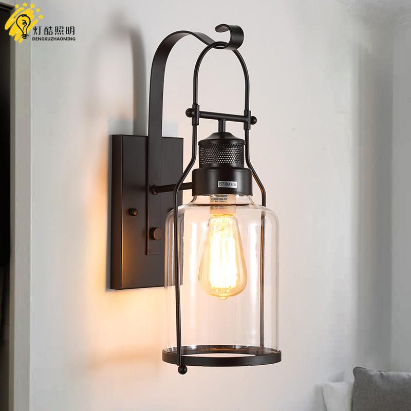 loft美式乡村创意个性复古工业风玻璃壁灯过道咖啡厅酒吧户外灯具