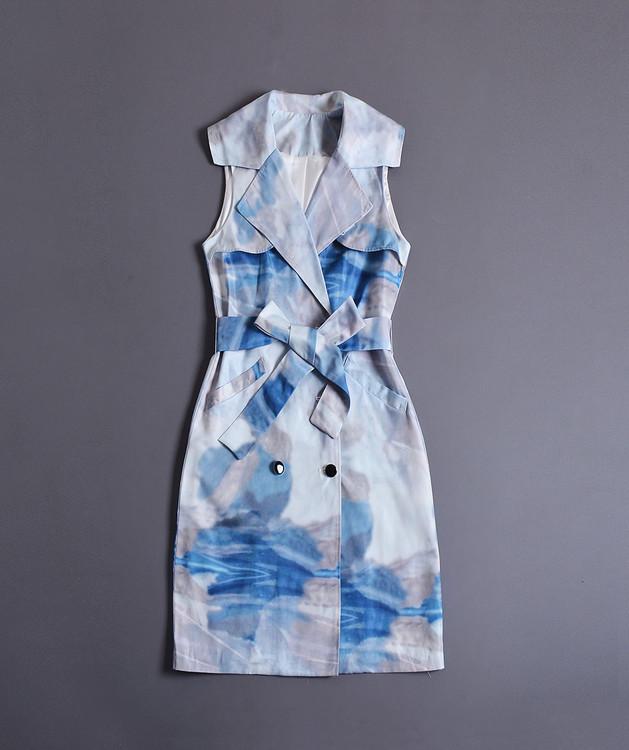 0806-14翻領無袖印花繫帶連衣裙M肩寬34胸圍92裙長9