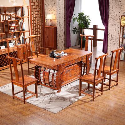 木阳实木简约茶台批发  功夫茶桌椅组合 仿古中式吉祥如意茶几桌