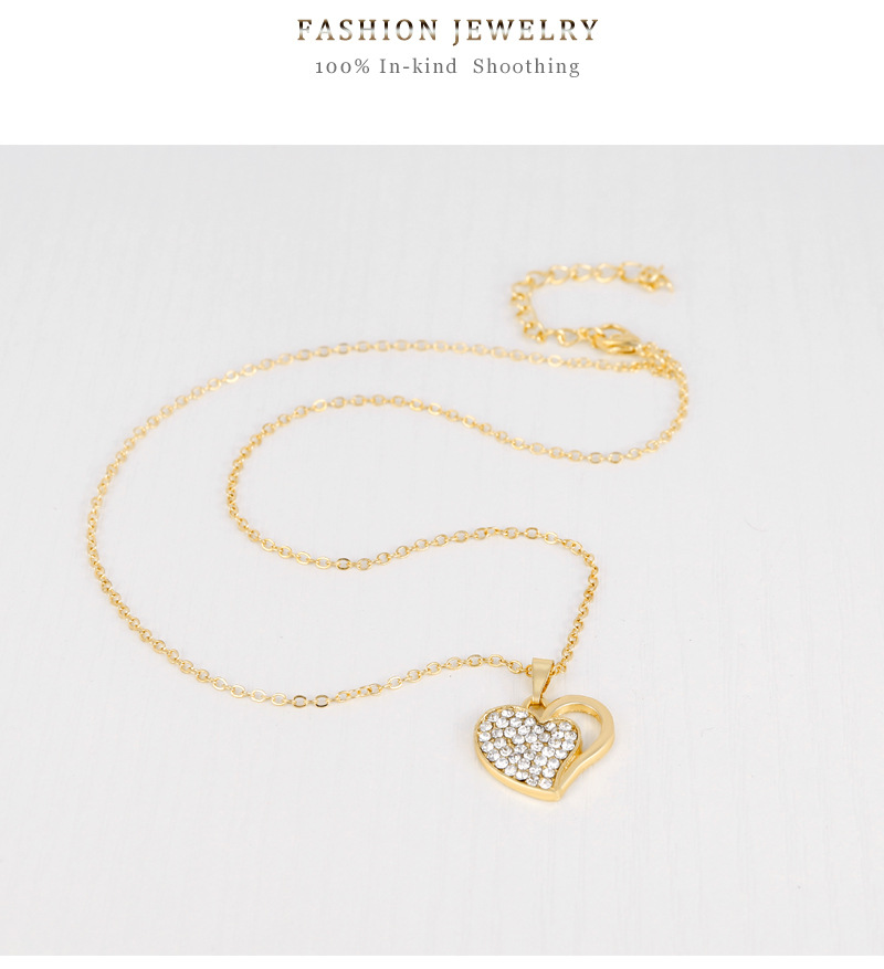 Fashionable and exquisite fourpiece Korean fashion exquisite love alloy diamond necklace earring ring bracelet set in stock wholesale nihaojewelry NHDR225319
