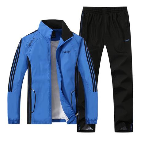 Mùa xuân và mùa thu xu hướng mới trung niên và cũ thể thao phù hợp với thể thao kích thước lớn quần áo thể thao nam tay dài chạy thể thao Bộ đồ thể thao nam