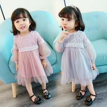 qz6011小瑄baby 一件代发女童秋装新款童装宝宝蕾丝公主裙招代理