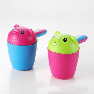 婴儿花洒水勺宝宝洗澡沐浴儿童卡通小熊洗头杯戏水水瓢洗发杯批发
