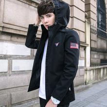 春季男式夹克2018新款休闲外套青年韩版修身帅气连帽上衣潮流男装