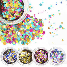 ALIVER Nail Polish Sequins Irregular Round Phototherapy A DIY Nail Art Ornaments Symphony 12 Colors