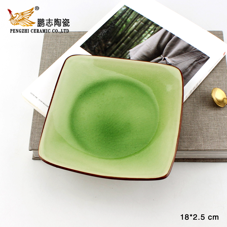厂家批发韩式?#39057;?#39184;具方形陶瓷盘 餐厅甜点小菜色拉盘骨碟西餐盘