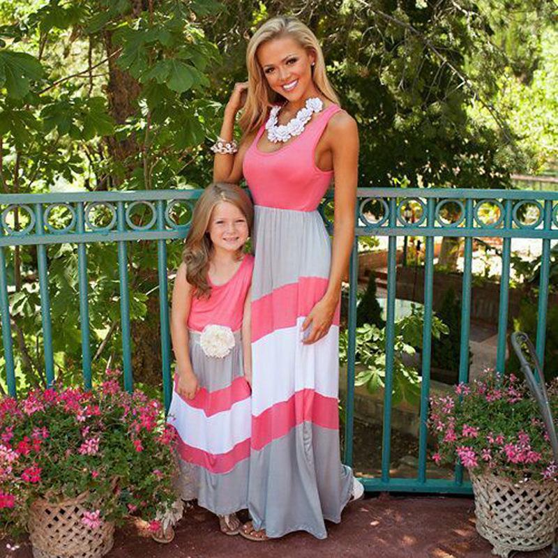 母女装连衣裙夏亲子装夏装条纹背心女童连衣裙亲子装2019新款网红