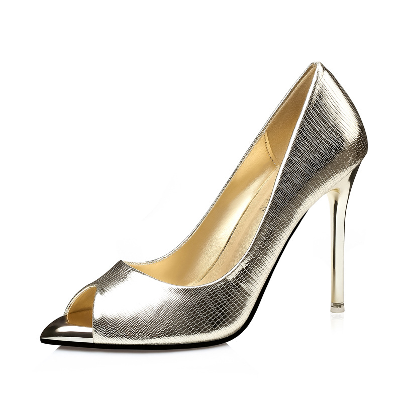 Champagne glitter fabric peep toe pumps
