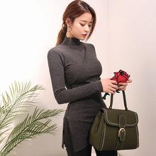 2108女装t恤时尚韩版秋季新款女不规则长袖半高领打底衫一件代发