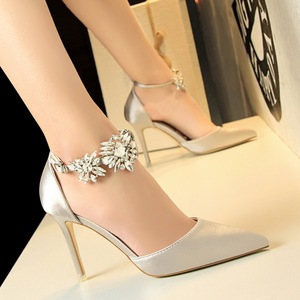 Diamond flowers Satin shoes