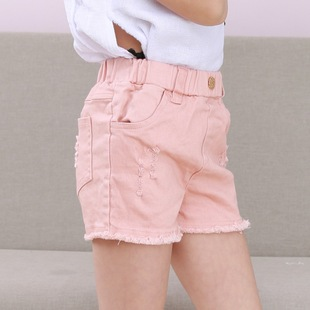 Girls summer Korean version of the big boy black and white hole denim shorts children's baby pure cotton stretch casual hot pants
