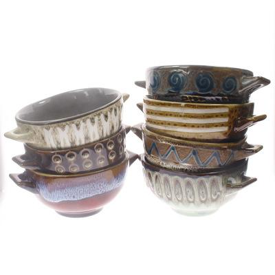 ZAKKA陶瓷双耳防烫烫碗 日式风格窑变复古陶瓷面碗 餐具批发