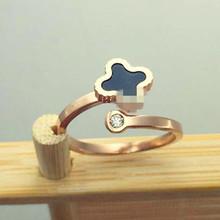 J4-204時尚四葉草彩貝開口尾戒玫瑰金戒指指環女彩貝黑色貝殼戒指