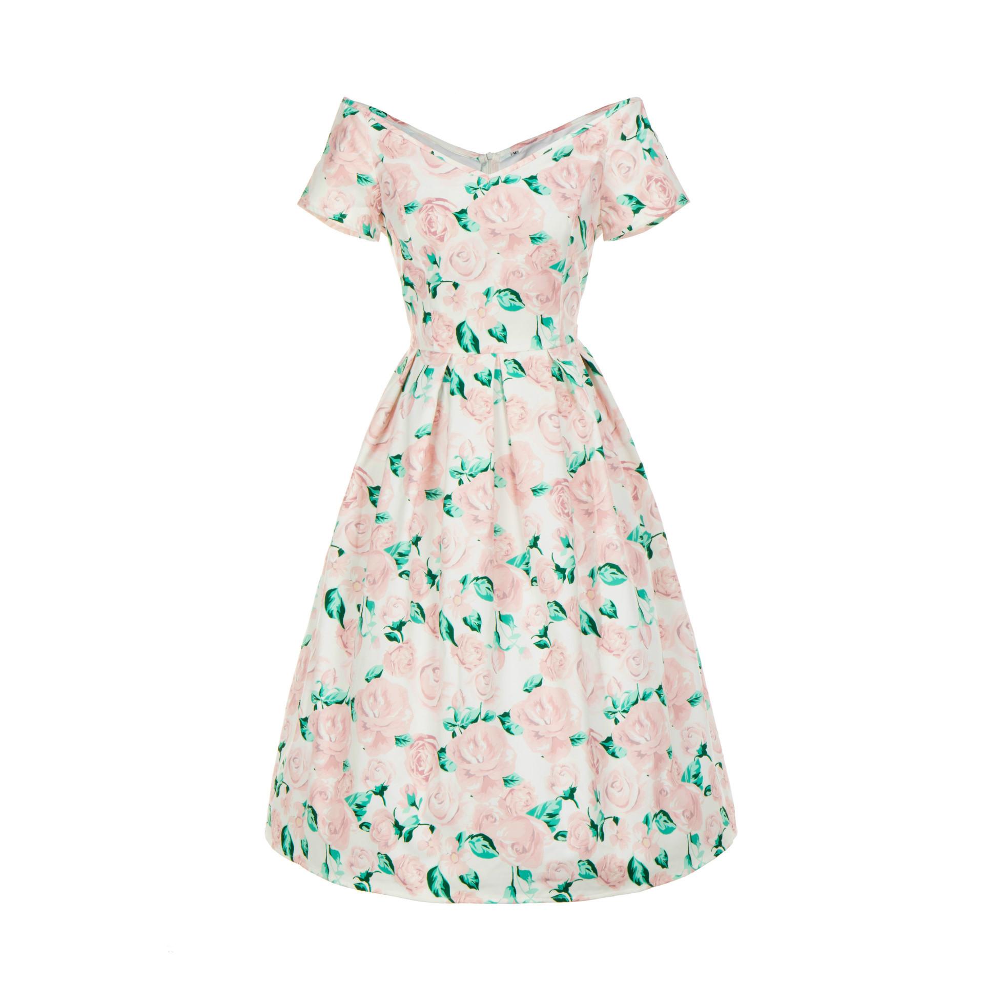 7147跨境女装2019年新款印花复古优雅印花收腰修身显瘦大摆连衣裙