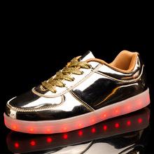 潮流新款男鞋女鞋低幫金色銀色發光鞋七彩LED燈USB充電情侶夜光鞋