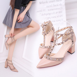 17 spring new pointed rivet high heels thick with shallow mouth T word rivets hollow female sandals
