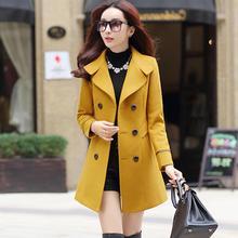 毛呢外套女修身中长款双排扣加厚收腰显瘦韩版妮子呢子大衣秋冬款