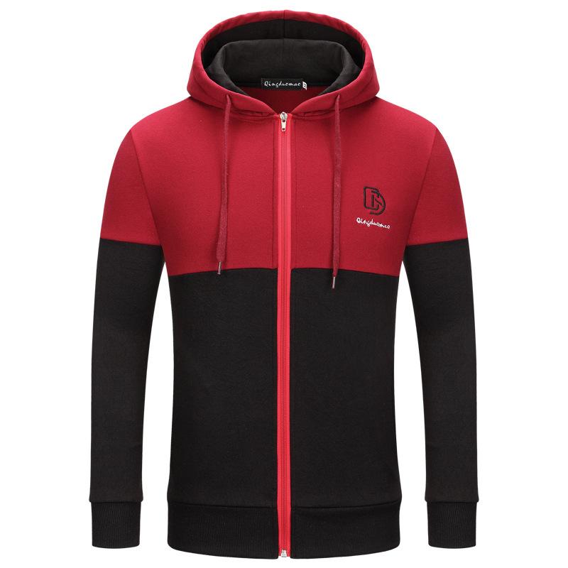 Cross-border young men's foreign trade hoodie Men's matching color patchwork zipper front hoodie coat