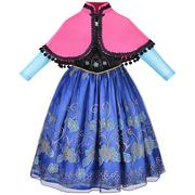 跨境亚马逊女童冰雪奇缘安娜公主裙欧美女童连衣裙一件代发
