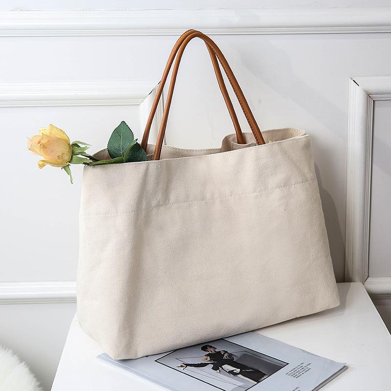 韩国东大门同款帆布女包2019新款单肩包学生大容量购物袋托特包