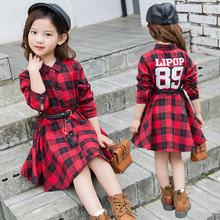 2018女童格子衬衫连衣裙春秋新款童装中大儿童收腰裙子一件代发