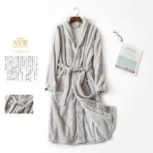 睡袍秋冬季情侣男士女士浴袍珊瑚绒加厚长袖睡衣欧码家居服浴衣批