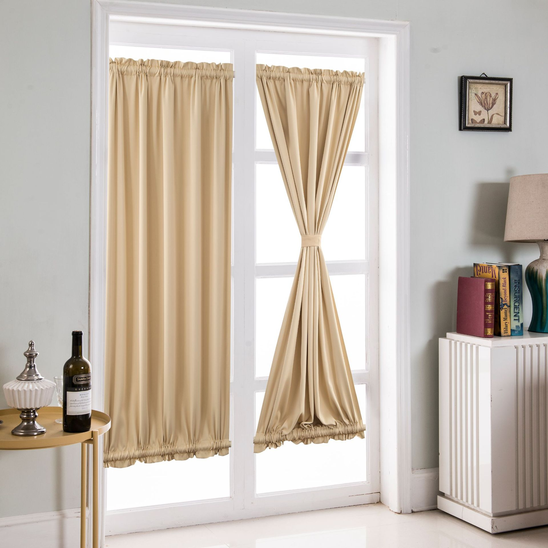 厂家直销出口窗帘成品批发纯色遮光布批发亚马逊法式门窗帘穿杆帘