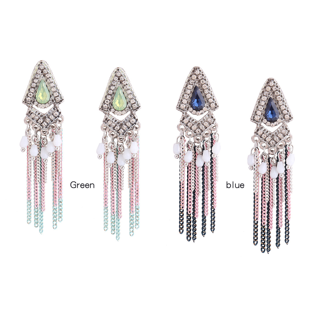 Retro alloy plating earring (blue)NHNMD3817-blue