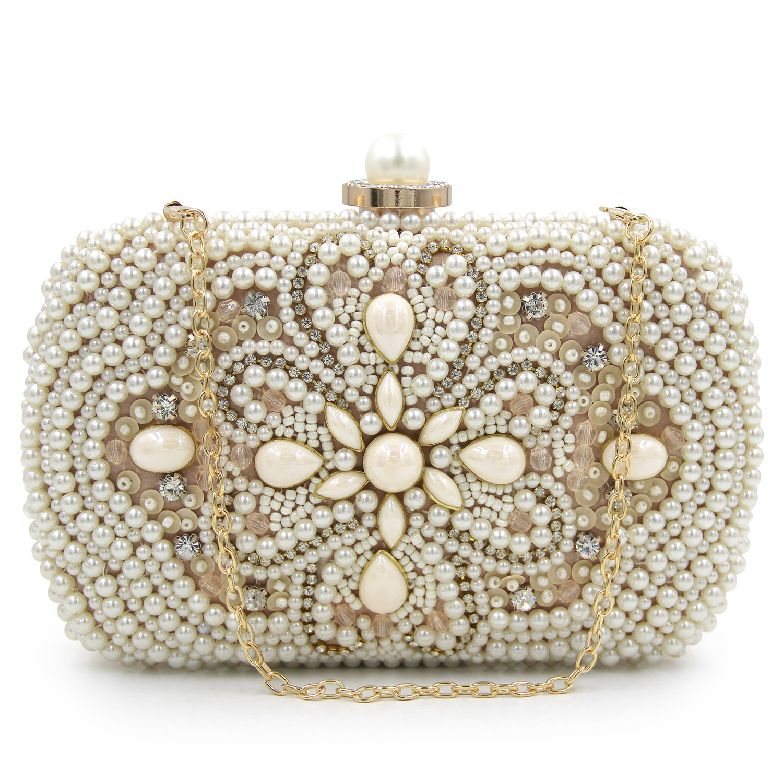 bcd4ab7be626b Handmade Beaded Clutch Purse Party Handbag Rhinestone Wedding Bridal ...