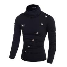 外貿熱銷  新款 斜襟多紐扣裝飾韓版男士修身高領POLO衫774