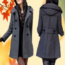 2017秋冬新款中長款雙排扣連帽大衣加肥加厚毛呢外套胖mm大碼風衣