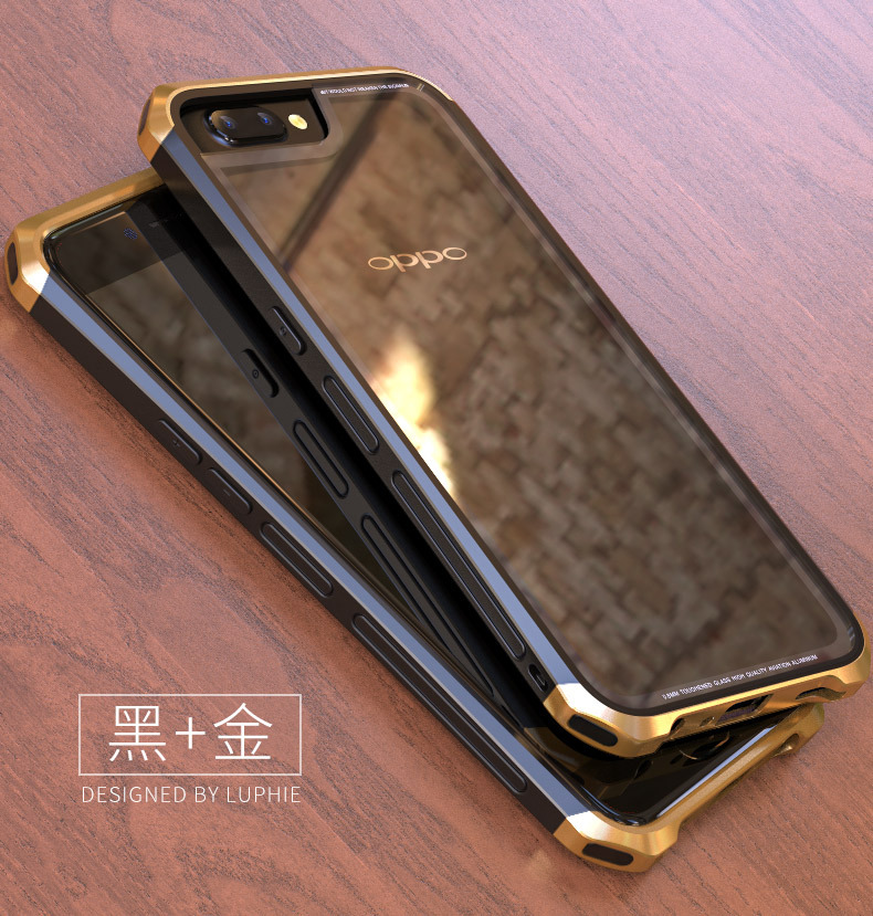 Luphie Nunchaku Airframe Metal Frame Air Barrier Tempered Glass Back Case Cover for OPPO R11 & OPPO R11 Plus