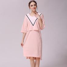 孕妇纯棉哺乳连衣裙 孕妇哺乳七分袖 产后哺乳打底衫中长款0.3