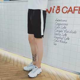 夏季运动短裤男休闲跑步健身沙滩裤宽松五分裤黑白杆学生三分裤薄