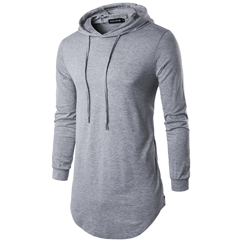 Foreign trade new men's personality high street style long sleeve hooded T-Shirt Large Men's bottoming shirt thin casual top