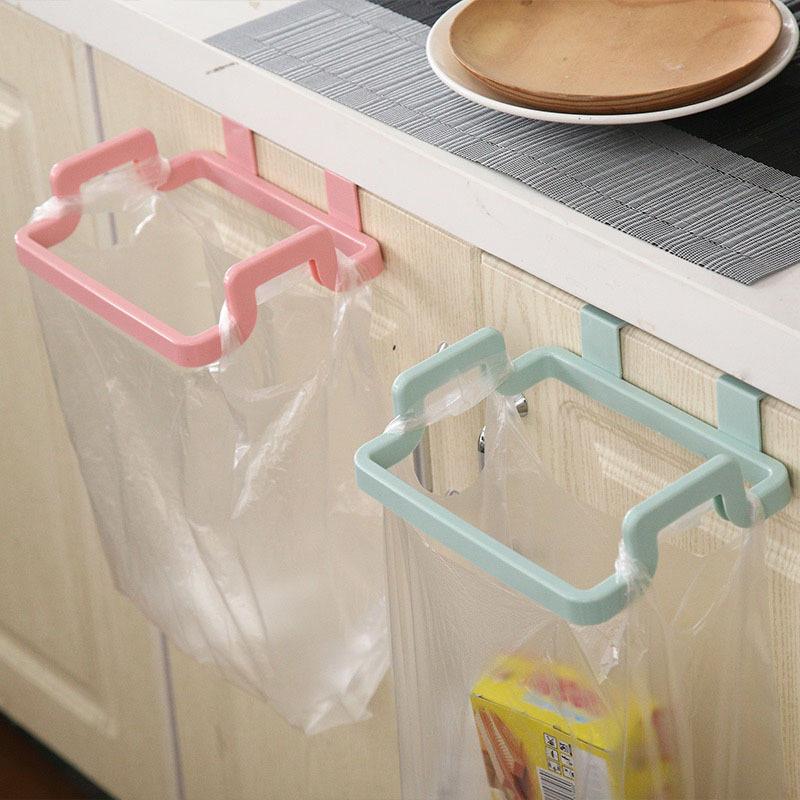 简约不规则厨房门背式手提垃圾袋支架 家用门后抹布挂架批发