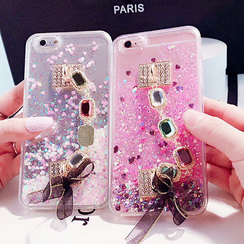 Luxury fashion gemstone bracelet for iPhoneXR dynamic quicksand sequins glitter apple 8plus mobile phone case